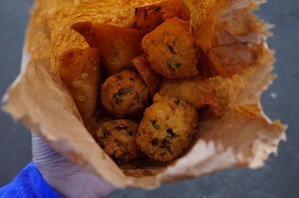 Mauritian street food includes samosas and gateau piment.