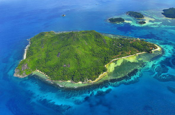 Bird's eye view of the Sainte Anne Private Islands in Seychelles.